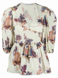 Vivetta graphic print peplum blouse - NEUTRALS