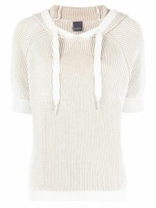 Lorena Antoniazzi ribbed knit hooded jumper - NEUTRALS