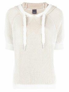 Lorena Antoniazzi ribbed knit hooded jumper - NEUTRALS