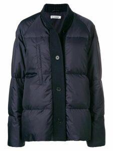 Jil Sander wool-trim puffer jacket - Blue