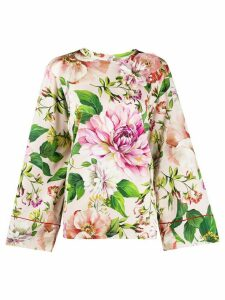 Dolce & Gabbana floral flared sleeve blouse - PINK
