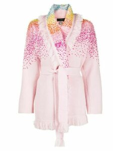 Alanui bead-embellished wrap cardigan - PINK