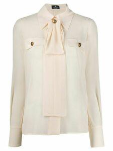 Elisabetta Franchi embossed button blouse - NEUTRALS