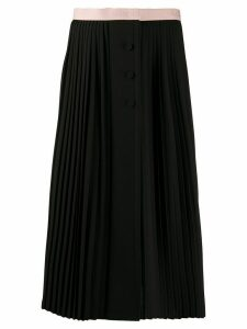 Gucci logo waistband pleated skirt - Black