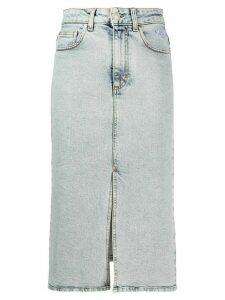 MSGM logo print denim skirt - Blue
