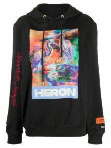 Heron Preston Heron logo print hoodie - Black