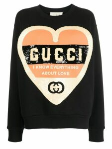 Gucci sequinned heart sweatshirt - Black