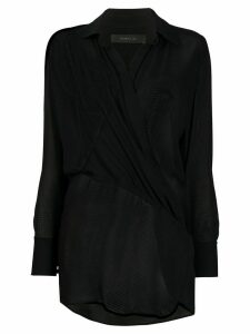 Federica Tosi long sleeve wrap front blouse - Black