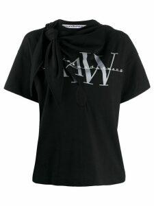 Alexander Wang tie-detail logo-print T-shirt - Black