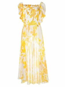 Caroline Constas longline abstract print blouse - Yellow