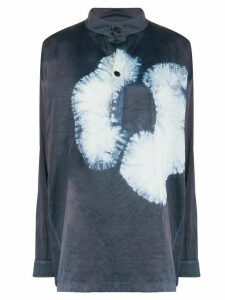Jil Sander tie-dye detail crinkled blouse - Blue