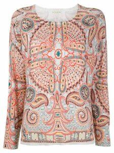 Etro fine knit paisley print jumper - ORANGE