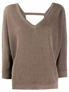 Peserico V-neck cropped sleeves sweater - Brown