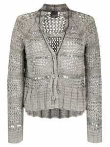 Lorena Antoniazzi open knit embellished cardigan - Grey