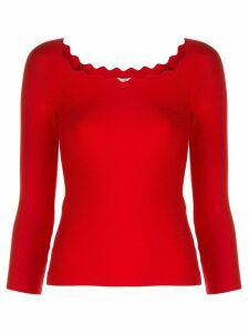 Milly Milly scalloped neck jumper - Red