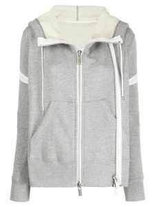 Sacai zipped-up hoodie - Grey