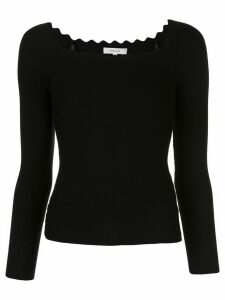 Milly Milly scalloped neck jumper - Black