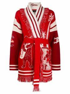 Alanui La Scala intarsia-knit cardigan - Red