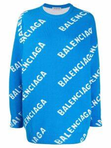 Balenciaga intarsia logo jumper - Blue