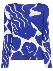 Issey Miyake graphic-print plisse top - Blue