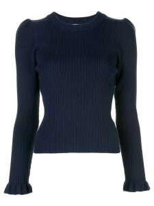 Milly ribbed knit ruffle trim jumper - Blue