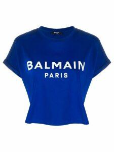 Balmain cropped logo print T-shirt - Blue