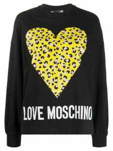 Love Moschino leopard print heart print sweatshirt - Black