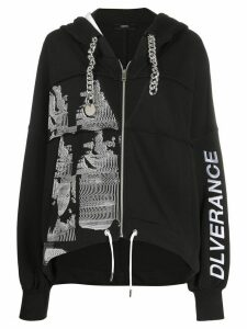 Diesel chain-detail zipped hoodie - Black