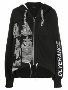 Diesel chain-detail zipped hoodie - Black