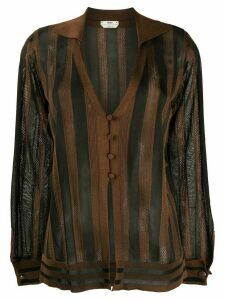 Fendi striped sheer cardigan - Black