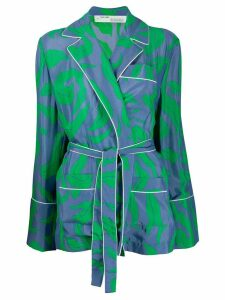 Off-White leaf-print pyjama-style shirt - Blue