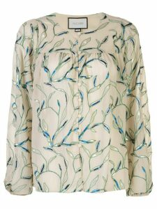 Alexis Valez foliage embroidered blouse - NEUTRALS