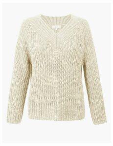 Per Una Cotton Rich Textured V-Neck Jumper