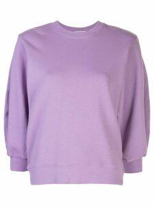Agolde cropped sleeve round neck sweatshirt - PURPLE