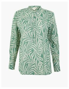 Per Una Pure Cotton Leaf Print High Neck Blouse