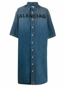 Balenciaga oversized denim shirt-dress - Blue