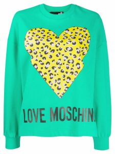 Love Moschino leopard print heart print sweatshirt - Green