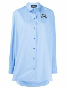 Rochas embroidered logo patch shirt - Blue