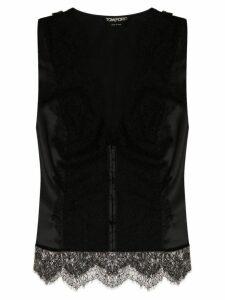 Tom Ford lace panel sleeveless blouse - Black