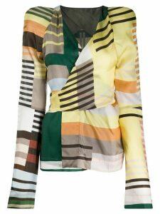 Rick Owens Uxmal-print wrap blouse - Yellow