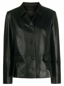 Prada leather short buttoned jacket - Black