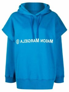 Mm6 Maison Margiela double sleeve logo hoodie - Blue