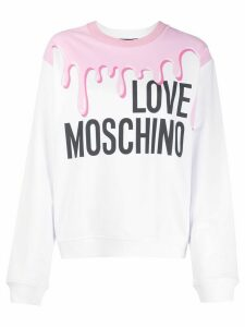 Love Moschino paint print logo print jumper - White