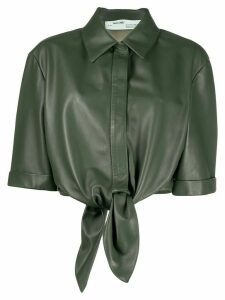 Off-White LEATHER BOW BASEBALL SHIRT MILITARY GREE - Green