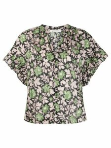 Masscob foliage patterned ruffle sleeve shirt - Green