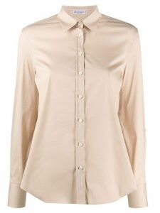 Brunello Cucinelli pointed collar curved hem shirt - NEUTRALS