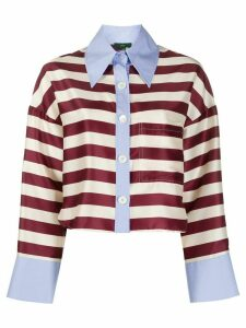 Jejia striped print oversized collar shirt - Red