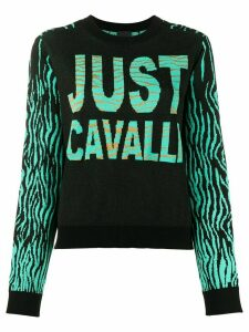 Just Cavalli color-block intarsia knit jumper - Black