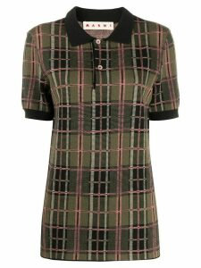 Marni plaid patterned wool polo shirt - Green