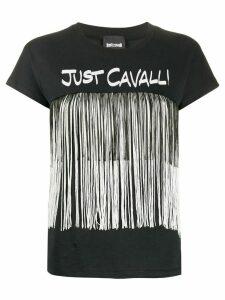 Just Cavalli logo fringed T-shirt - Black